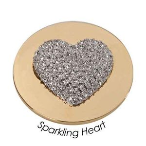 Quoins Coin (L) Sparkling Heart with Swarovski Yellow Gold PVD Plated (QMOA-11L-G)