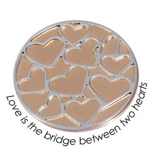 Quoins Coin (L) Love is the bridge between two hearts Pink Gold PVD Plated (QMOD-07L-R)