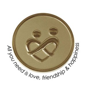 Quoins Coin (M) All you need is love, friendship & happiness Yellow Gold PVD Plated (QMOZ-01M-G)