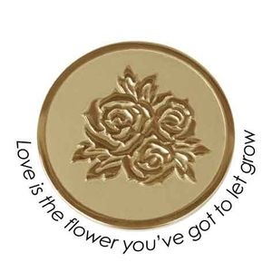 Quoins Coin (L) Love is the flower you've got to let grow Yellow Gold PVD Plated (QMOZ-06L-G)