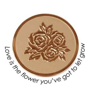 Quoins Coin (L) Love is the flower you've got to let grow Pink Gold PVD Plated (QMOZ-06L-R)