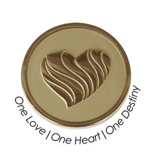 Quoins Coin (M) One love, one heart, one destiny Yellow Gold PVD Plated (QMOZ-09M-G)