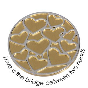 Quoins Coin (L) Love is the bridge between two hearts Yellow Gold PVD Plated QMOD-07L-G