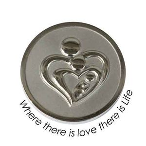 Quoins Coin (L) Where there is love there is life Stainless Steel QMOZ-02L-E