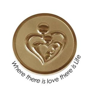 Quoins Coin (M) Where there is love there is life Yellow Gold PVD Plated QMOZ-02M-G