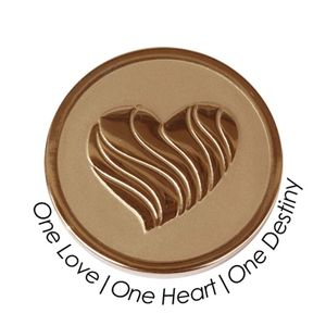 Quoins Coin (M) One love, one heart, one destiny Pink Gold PVD Plated QMOZ-09M-R