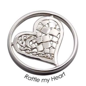 Quoins Coin (L) Rattle My Heart 925 Sterling Silver QMZG-17L